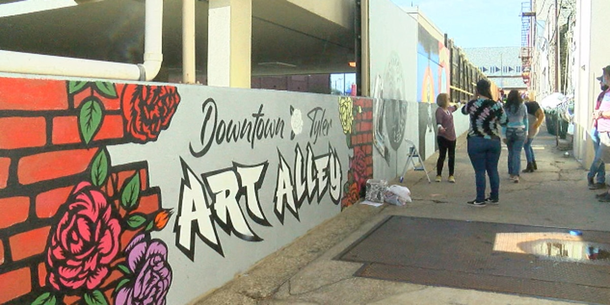 Local artists contribute to 280-foot canvas called Tyler Art Alley