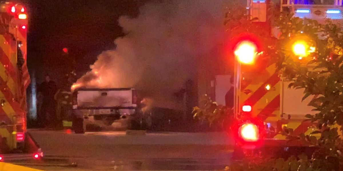 Officials investigate pickup truck fire at East Texas Pool Service in Tyler