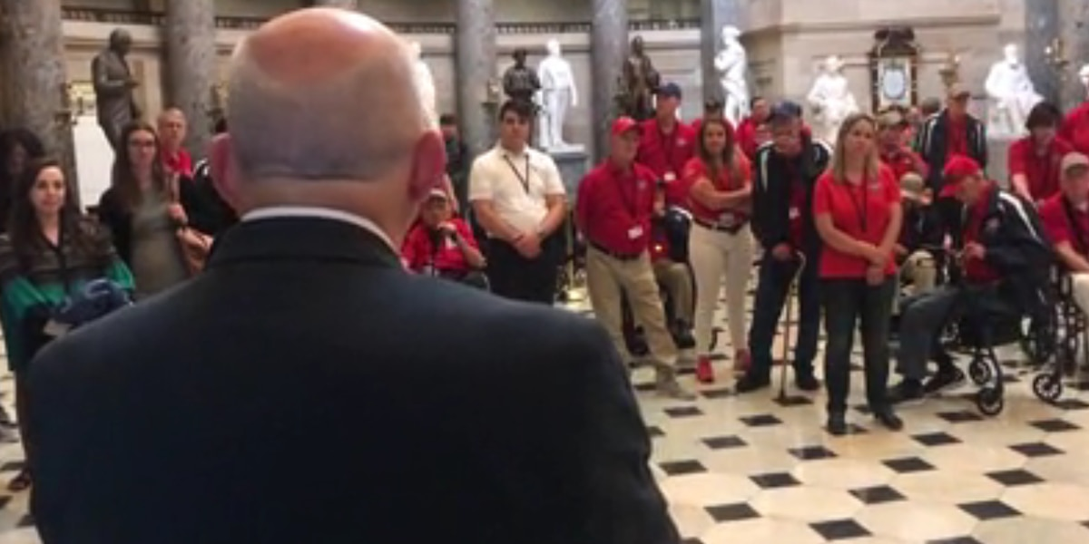 Heroes' Flight veterans tour the Capitol with tour guide Congressman Louie Gohmert