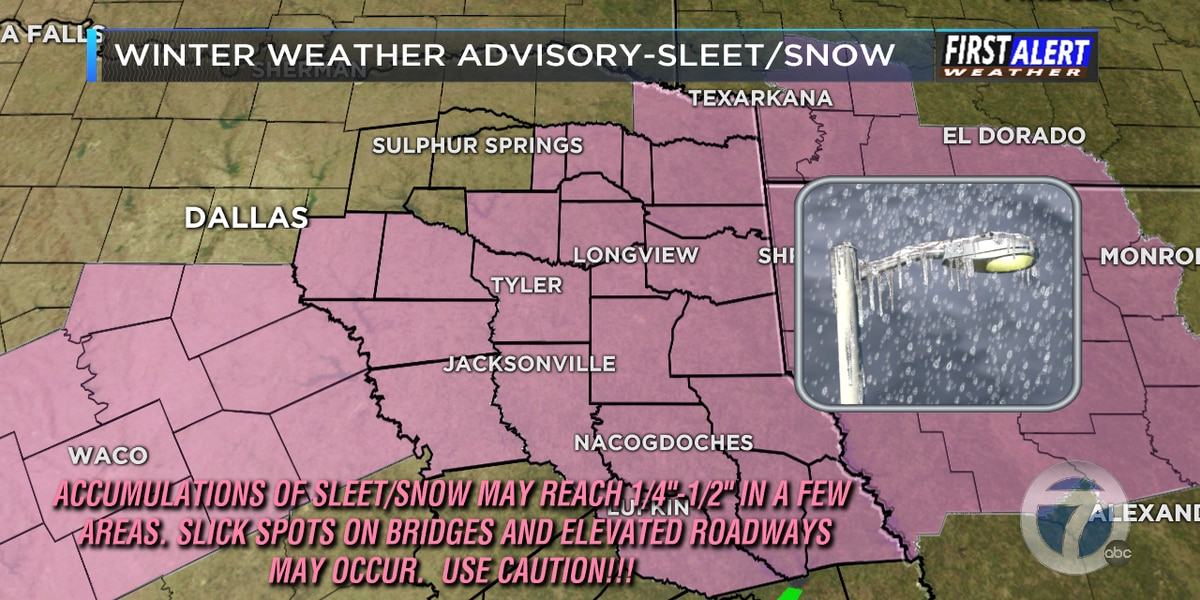 Winter weather advisories in effect until early morning for majority of East Texas