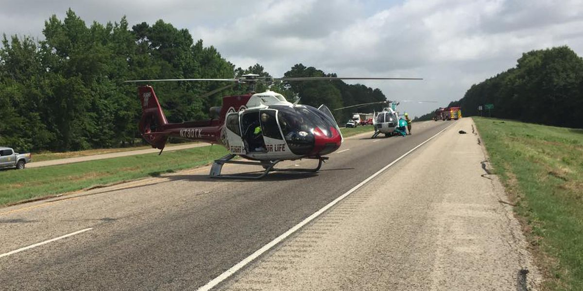 Two medical helicopters respond to rollover wreck