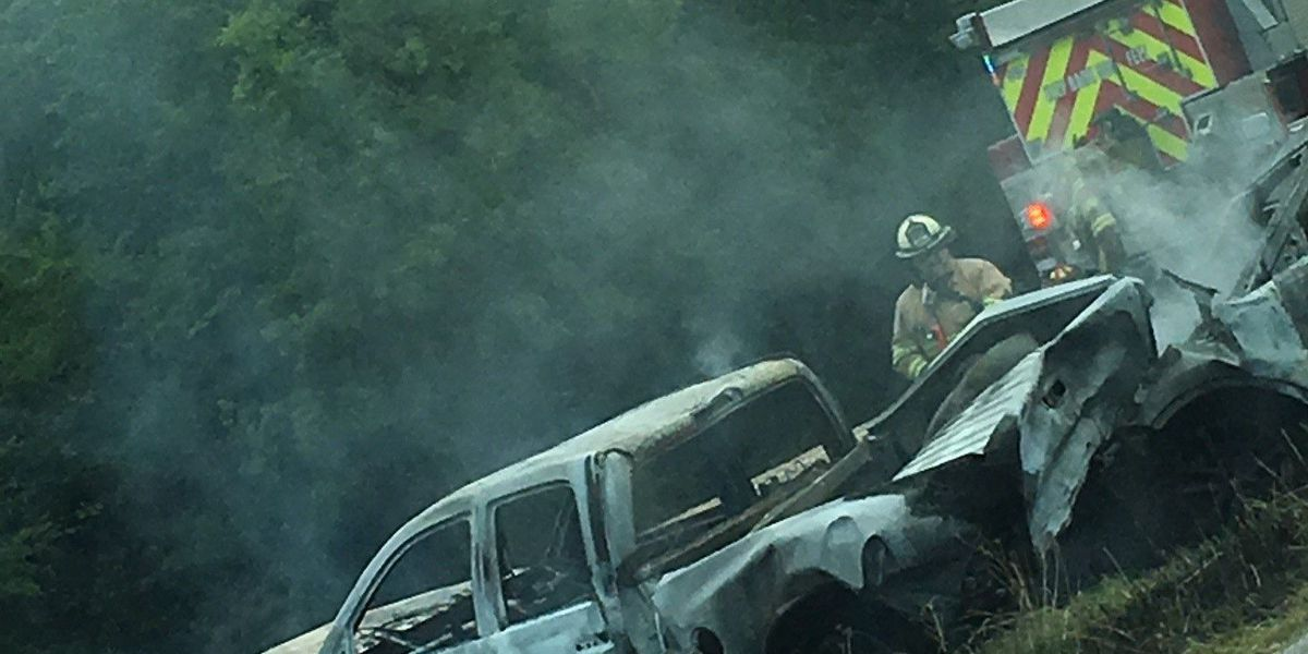 Emergency crews respond to fiery wreck on I-20 in Harrison County