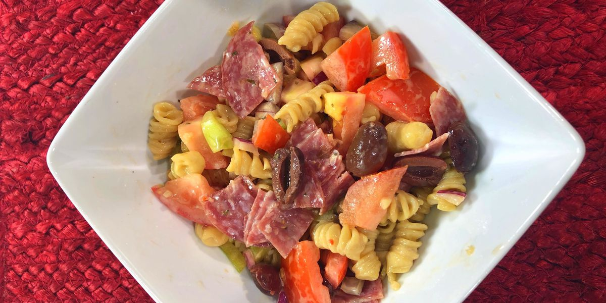 Pasta Salad with pickled veggies by Mama Steph