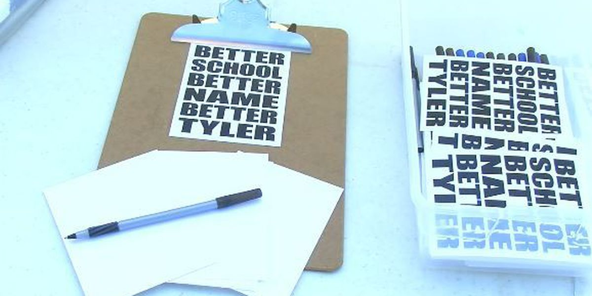Students, community members host 'postcard party' to protest Tyler high school name