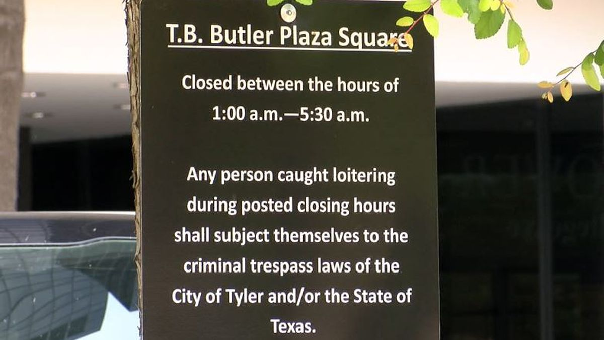 New signs on Tyler square reminding people of loitering ordinance