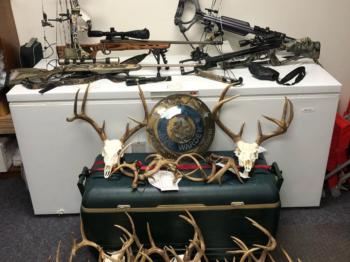 Smith County game wardens seize illegal hunting gear, 16 sets of antlers
