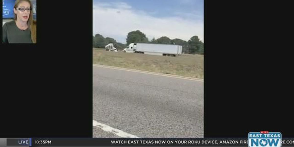 VIDEO: Wreck involving truck-tractor blocks 1 westbound lane of I-20