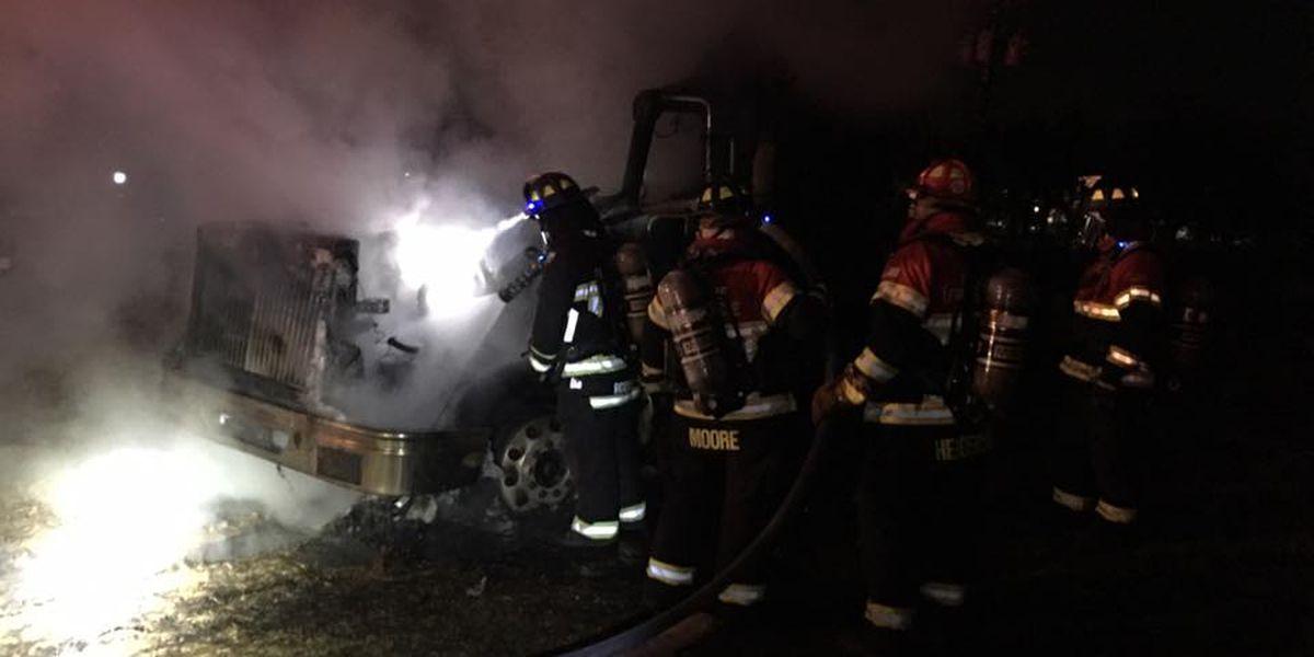 Emergency crews respond to truck tractor fire in Kilgore