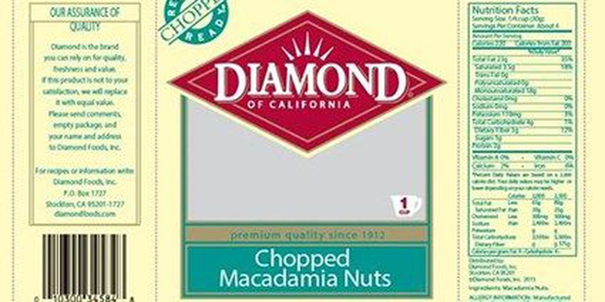 RECALL ALERT: Some Diamond of CA nuts may contain salmonella