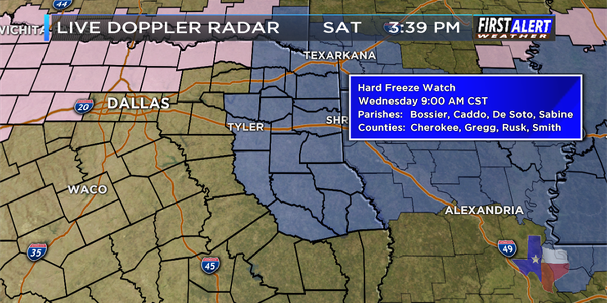 Hard Freeze Watches issued for East Texas