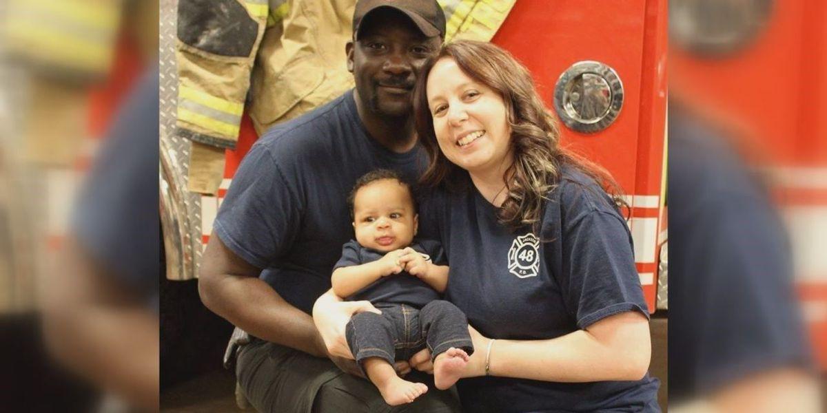 Fire chief, teacher celebrate adoption of baby boy after infertility