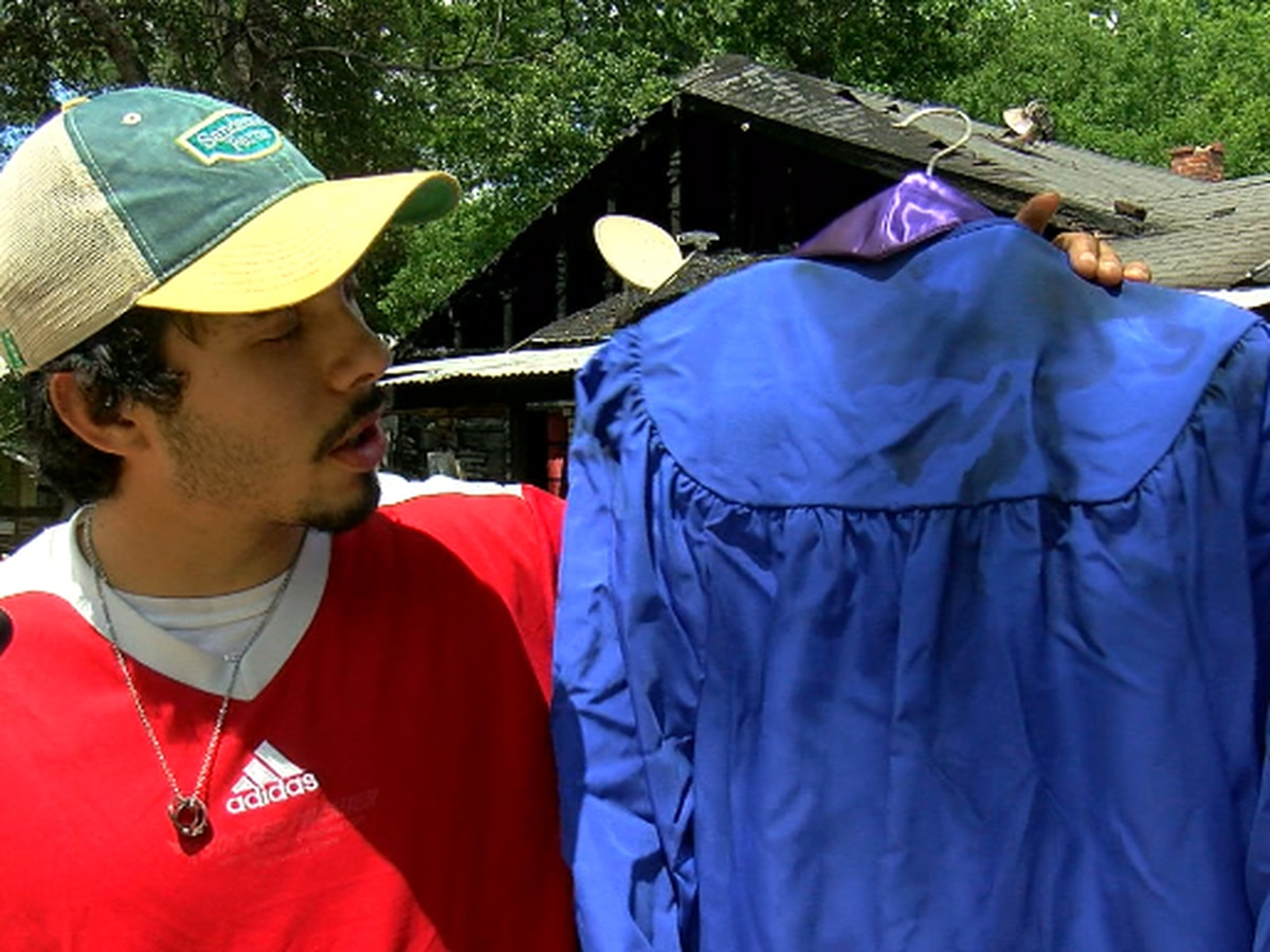 Family loses home to fire but saves graduation gown