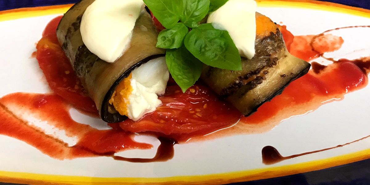 Eggplant-stuffed cod by Chef Simon Webster