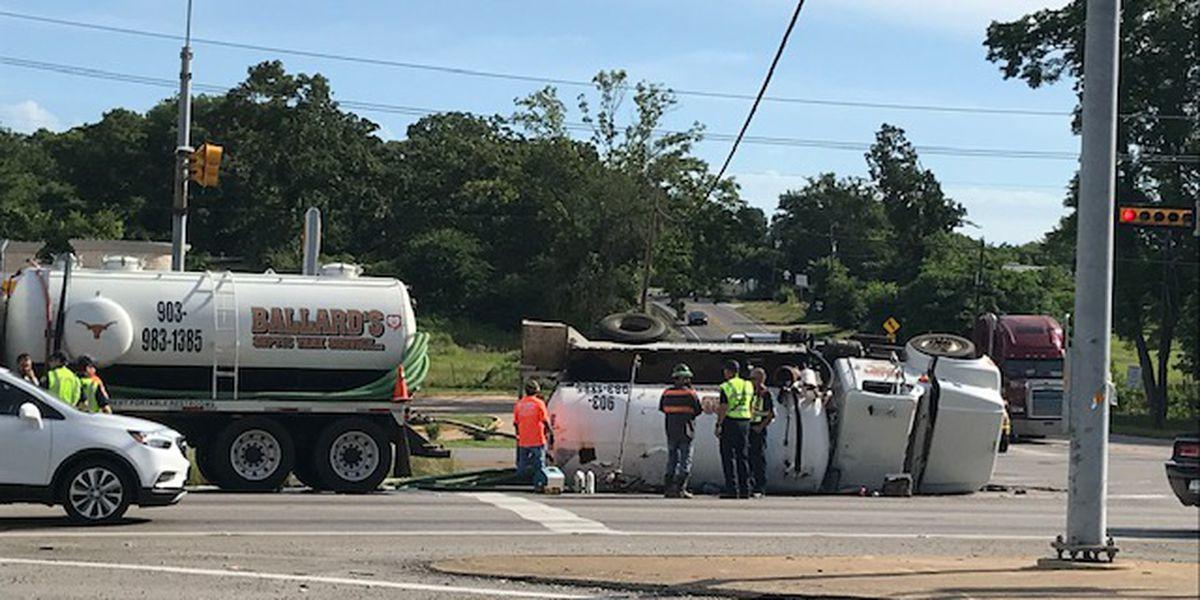 Overturned septic truck blocking 1 lane of Loop 323 near Hwy 14 in Tyler