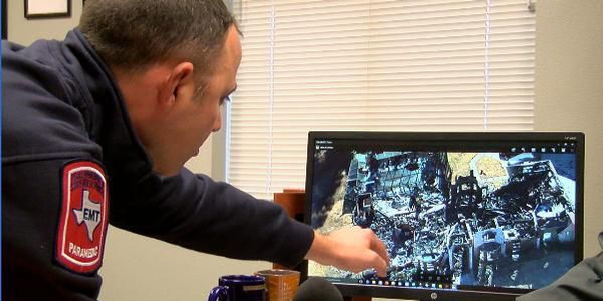 Marshall Firefighters look at Chopper 7 pictures of house fire