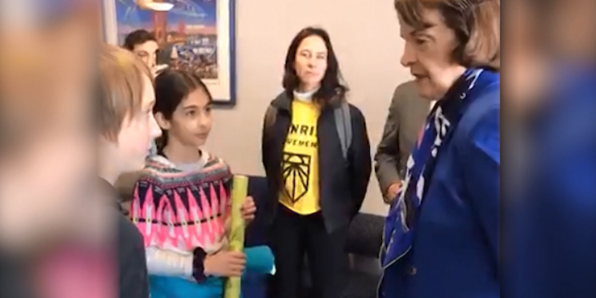 'I've been doing this for 30 years': Sen. Feinstein clashes with children on Green New Deal