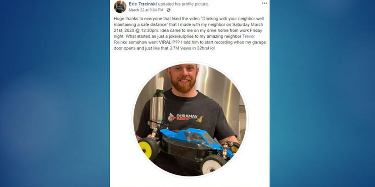Social distancing: Man shares beer with neighbor via RC car