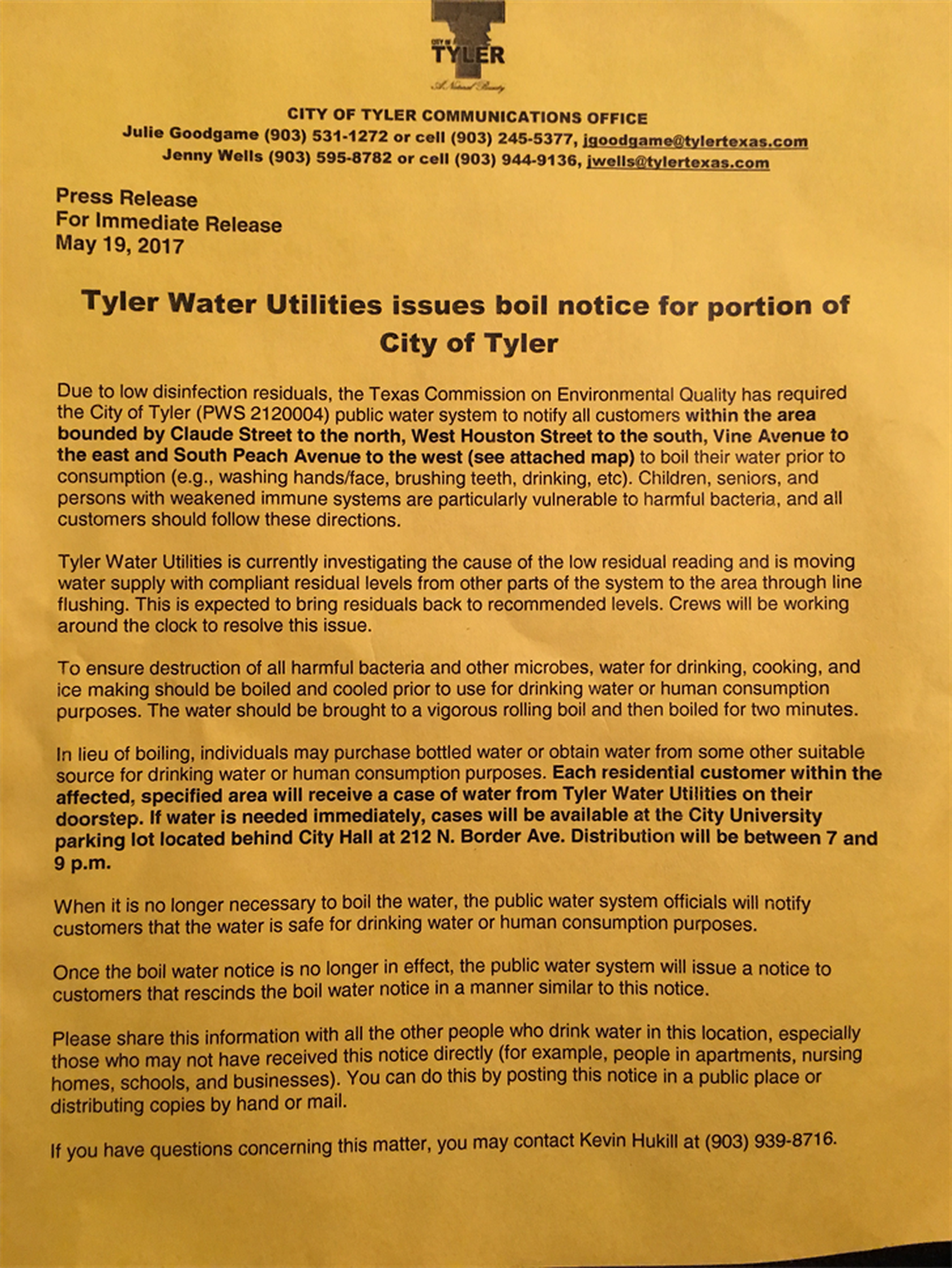 Tyler Water Utilities issues boil water notice for portion of City