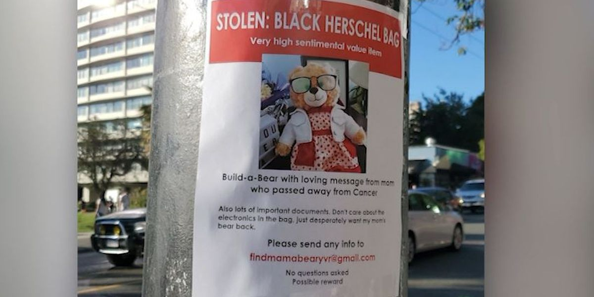 Stolen teddy bear with late mother's voice returned to Vancouver woman