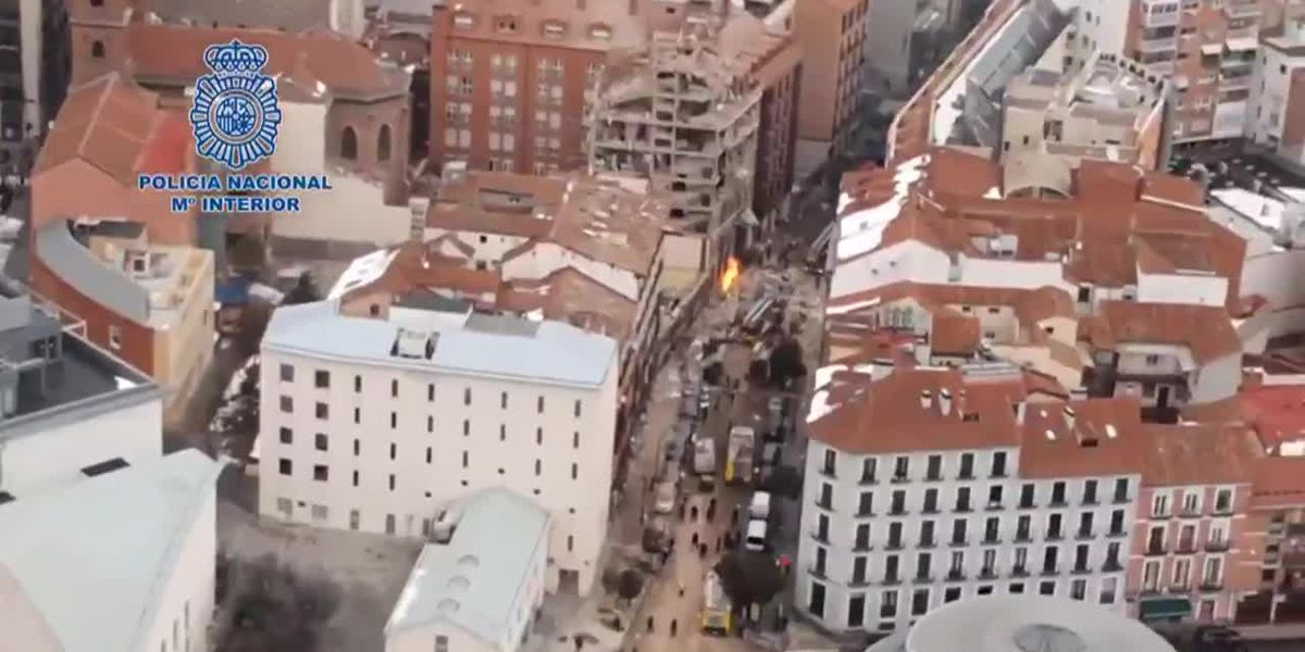 Aerials show damage left from gas explosion in Madrid