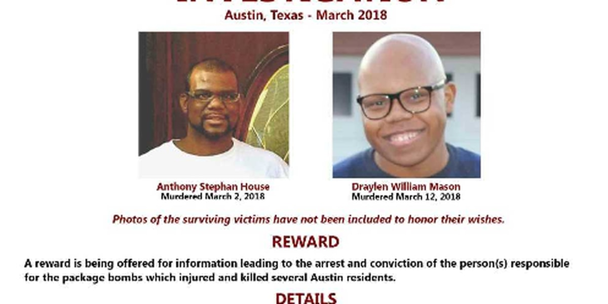 Multiple agencies offering rewards for information leading to Austin package bomber