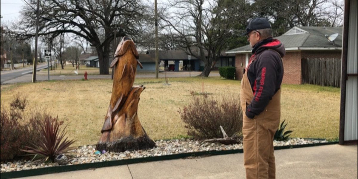 Alba man has 5-foot-tall bass carved out of tree stump