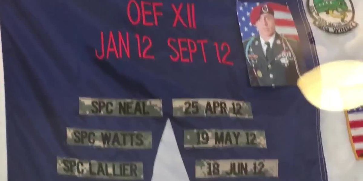 A soldier's flag honors the fallen