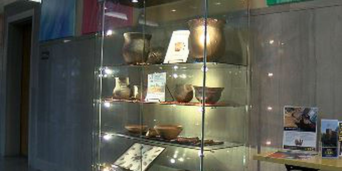 Native American artifact collection on display at Tyler Junior College