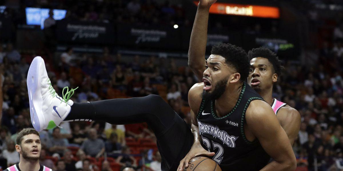 Towns has huge night, Minnesota tops Miami 113-104