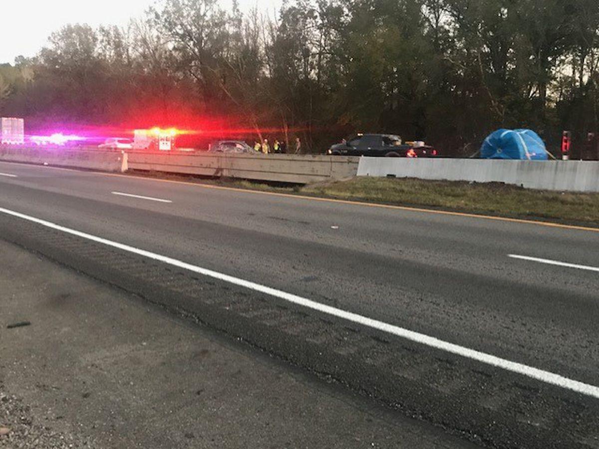 Crash involving 18-wheeler blocks eastbound lanes of I-20 near Barber Rd.