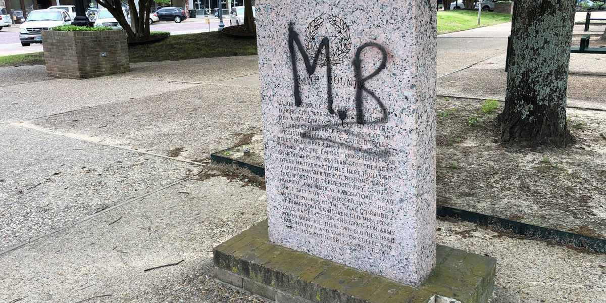 Confederate monument on Tyler square vandalized