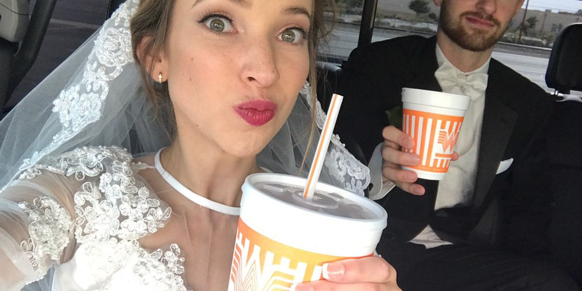 Texas couple serves up wedding day photos in front of Whataburger