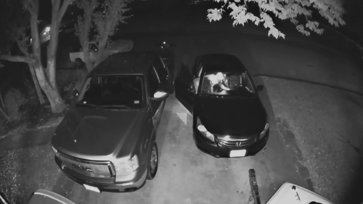 Security camera captures suspect breaking into car in Gregg County