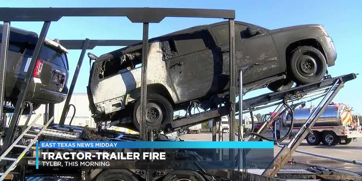 Tractor-trailer hauling cars catches on fire at Smith County truck stop