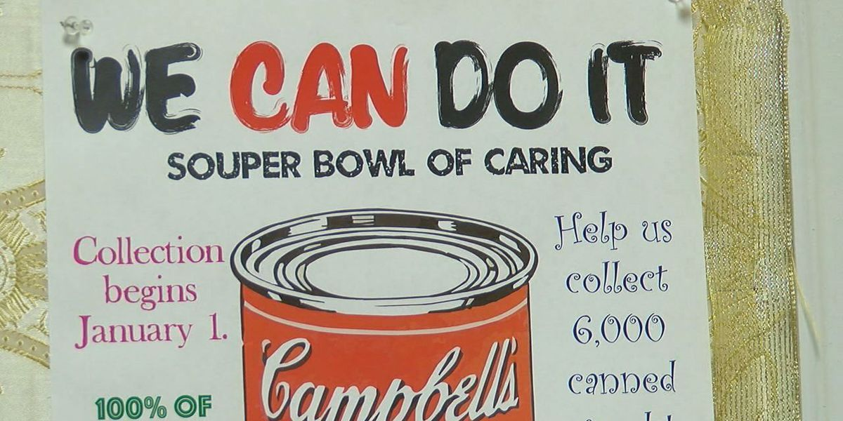 Church student ministry collects thousands of cans for 'Souper Bowl of Caring'