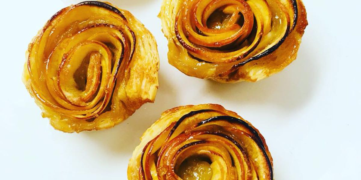 Mini puff pastry apple roses by Hick & Frog Bistro