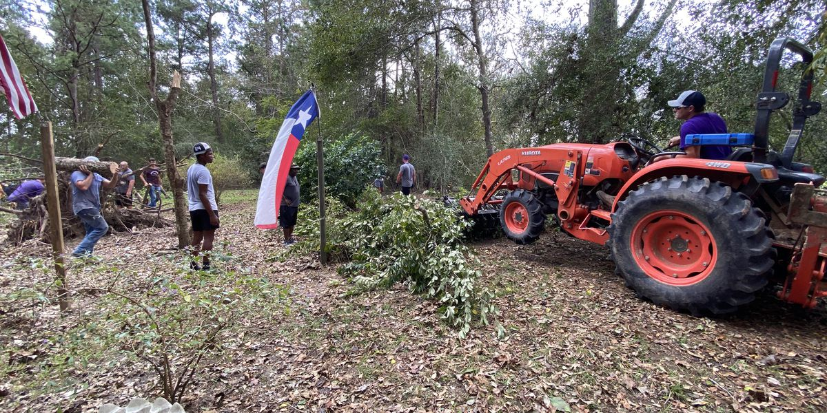 Newton High School football team helps clean up debris left by Hurricane Laura