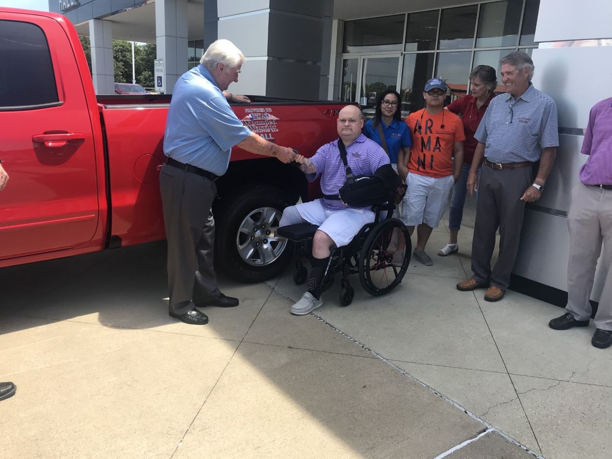 Hall Buick GMC, Texas Wounded Warrior Foundation present veteran with truck