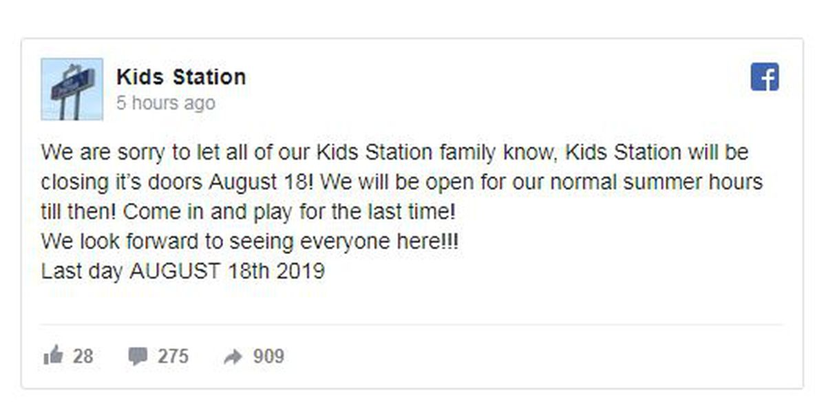 Kids Station in Longview schedules last play date