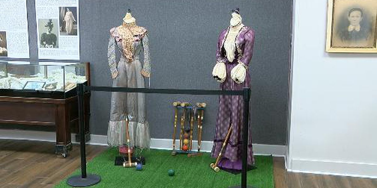 150 year old dresses on display at the Gregg County Historical Museum