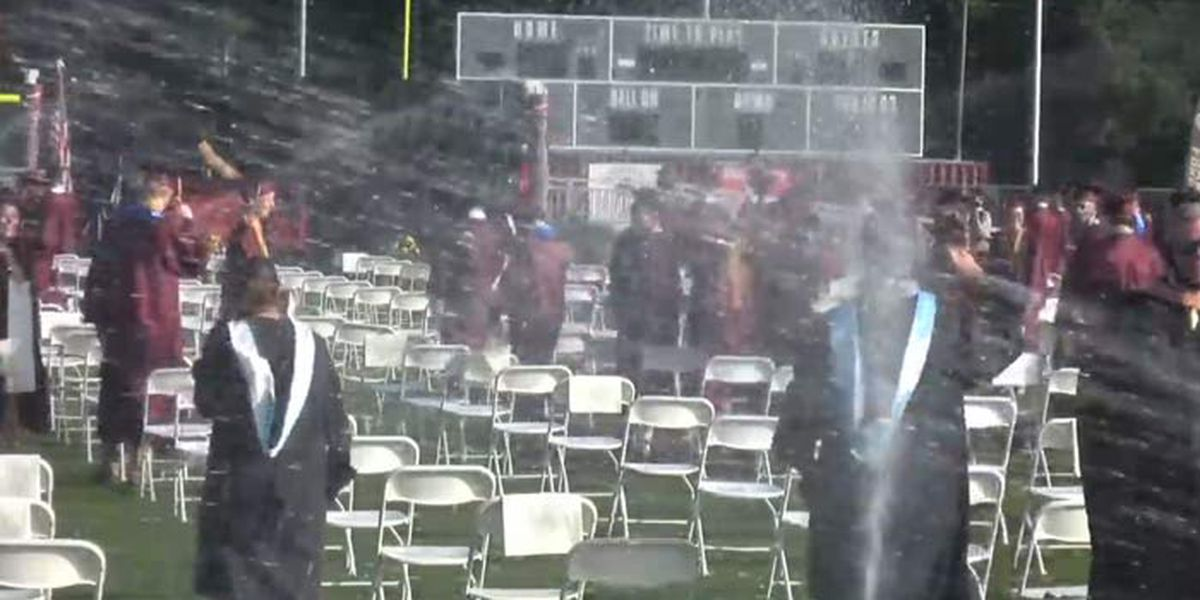 Caught on Camera: Sprinklers interrupt high school graduation ceremony