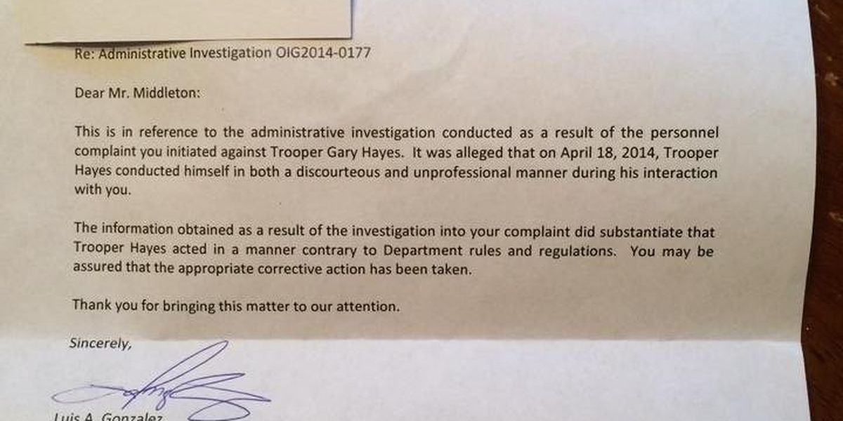 Letter from DPS to Cole Middleton