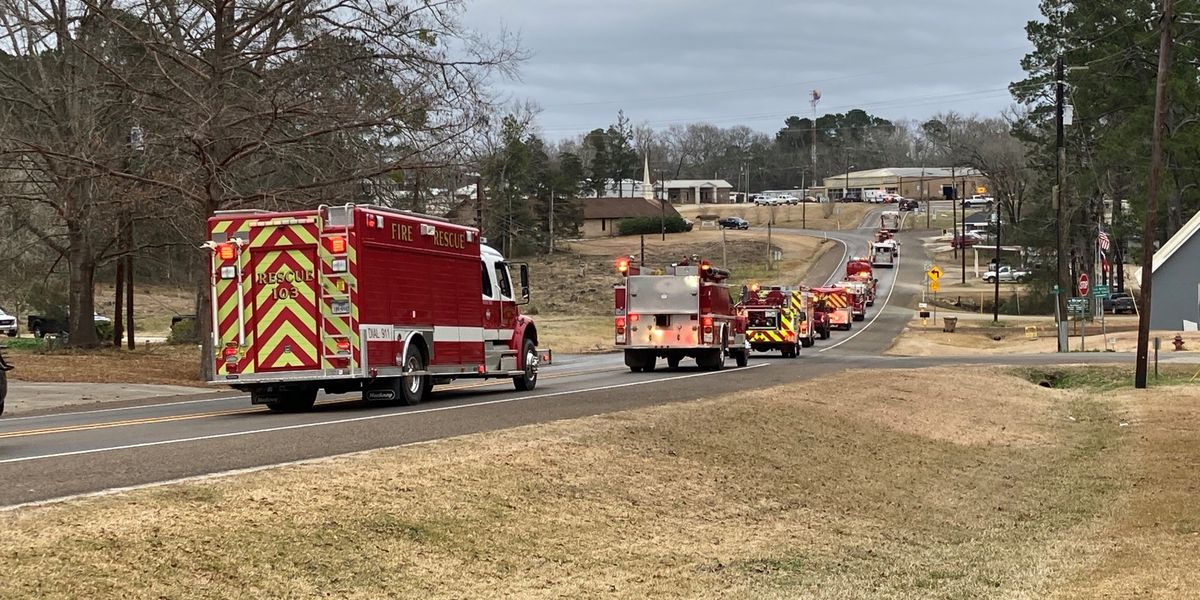 Area fire crews pay respects to fallen Sabine County volunteer firefighter