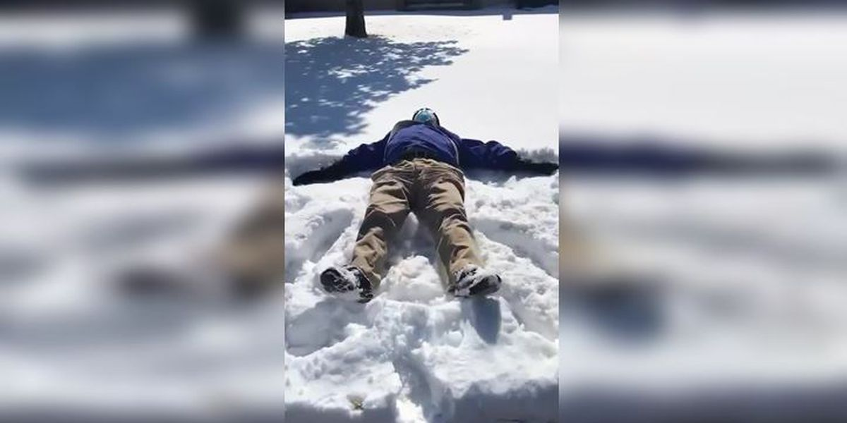 79-year-old man makes first snow angel