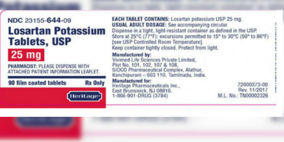 Vivimed Life Sciences recalls losartan potassium tablets after detecting impurity
