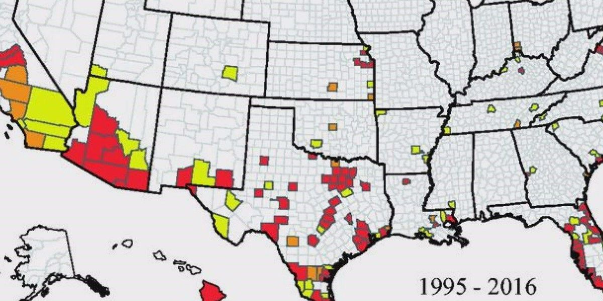 CDC map shows mosquito trend in E. Texas