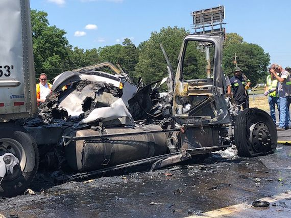 18-wheeler catches fire in chain-reaction crash involving 3 big rigs