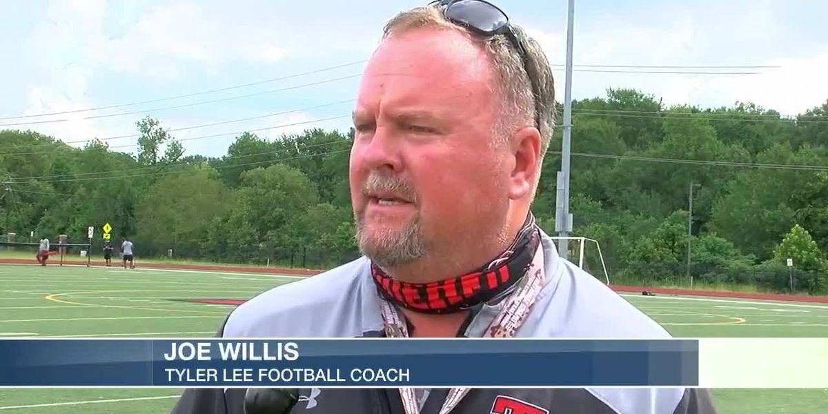 First-year Lee football coach dealing with pandemic, altered workouts, pending campus name change