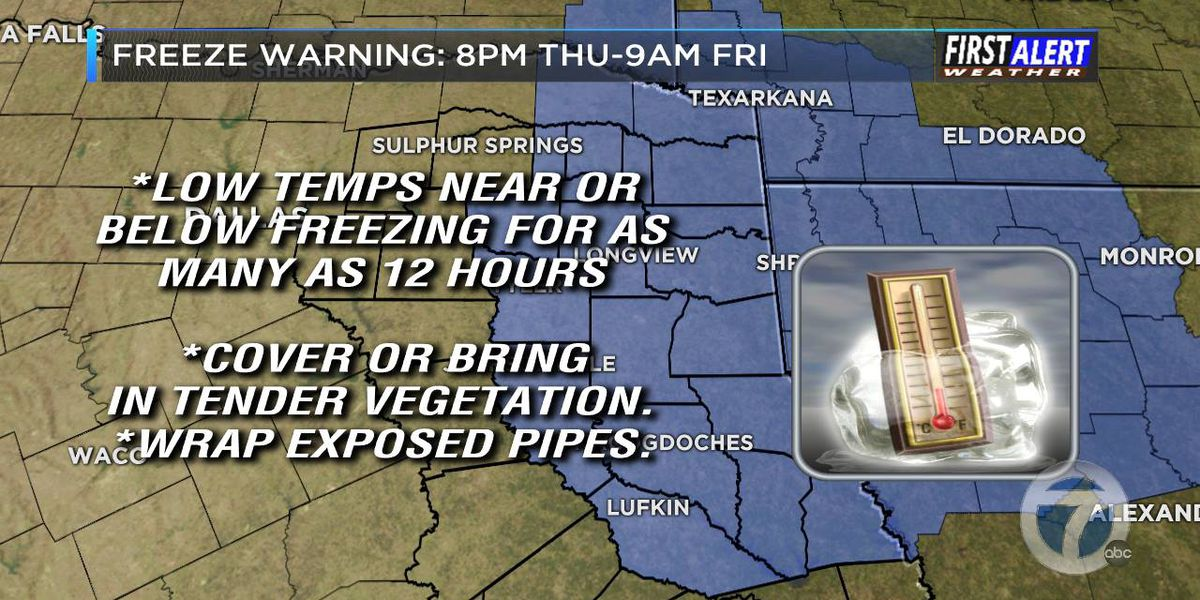 Freeze warning in effect; light flurries blow into East Texas