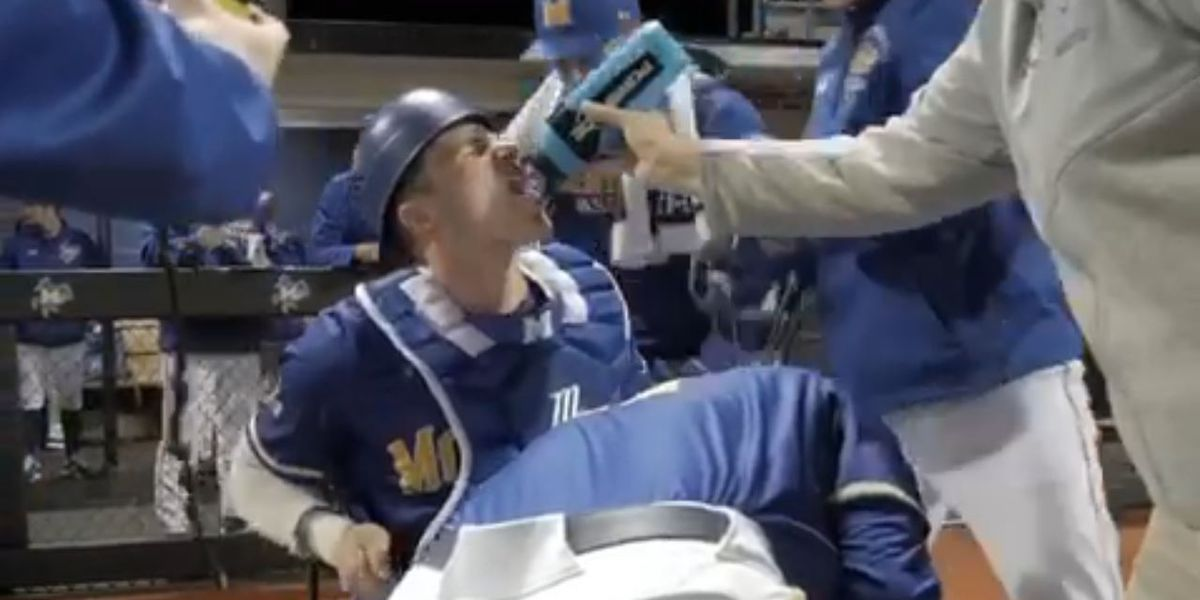 Video of McNeese catcher getting help putting on gear goes viral